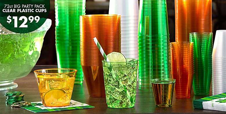 St. Patrick's Day Drinkware - 72ct Big Party Pack Clear Plastic Cups $12.99