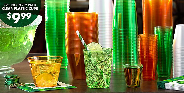 St. Patrick's Day Drinkware - 72ct Big Party Pack Clear Plastic Cups $9.99
