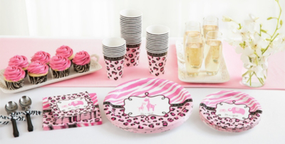 Lovely Patterned Tableware 50% Off MSRP U2014 Pink Safari Baby Shower Party Supplies  ...