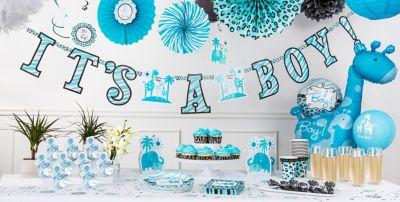 Elegant ... Blue Safari Baby Shower Party Supplies ...