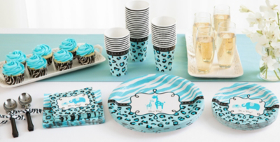 High Quality Patterned Tableware 50% Off MSRP U2014 Blue Safari Baby Shower Party Supplies  ...