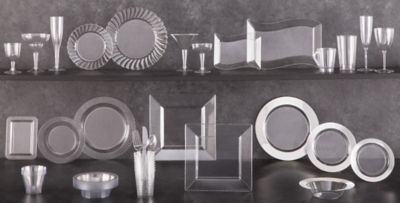 CLEAR Plastic Tableware CLEAR Plastic Plates Cups Bowls