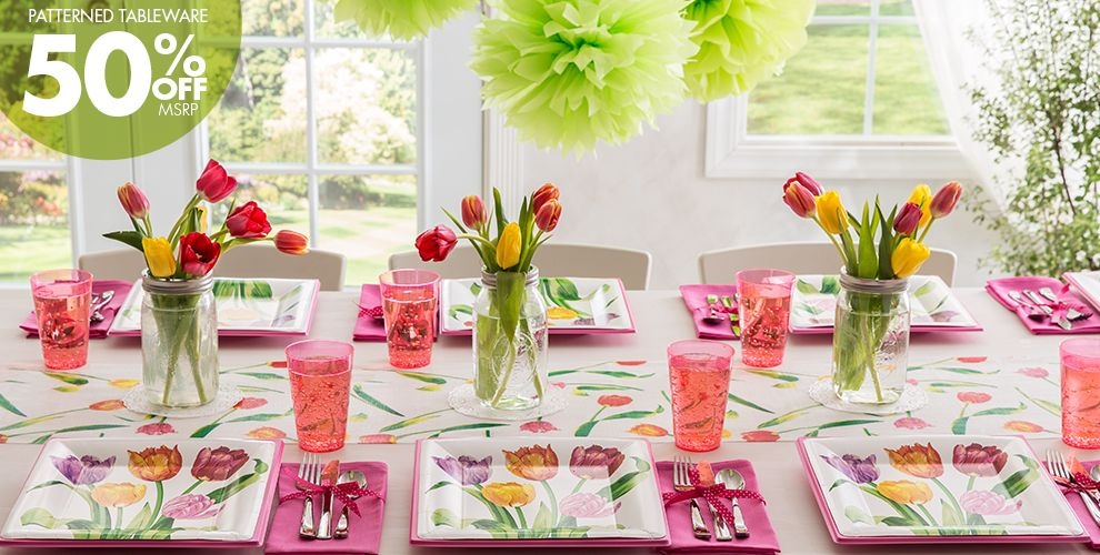 Spring Tulips Party Supplies 50% off Patterned Tableware MSRP