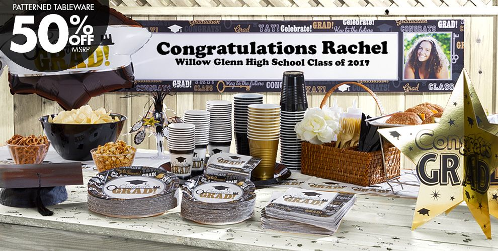 Patterned Tableware 50% off MSRP — Key to Success Graduation Party Supplies