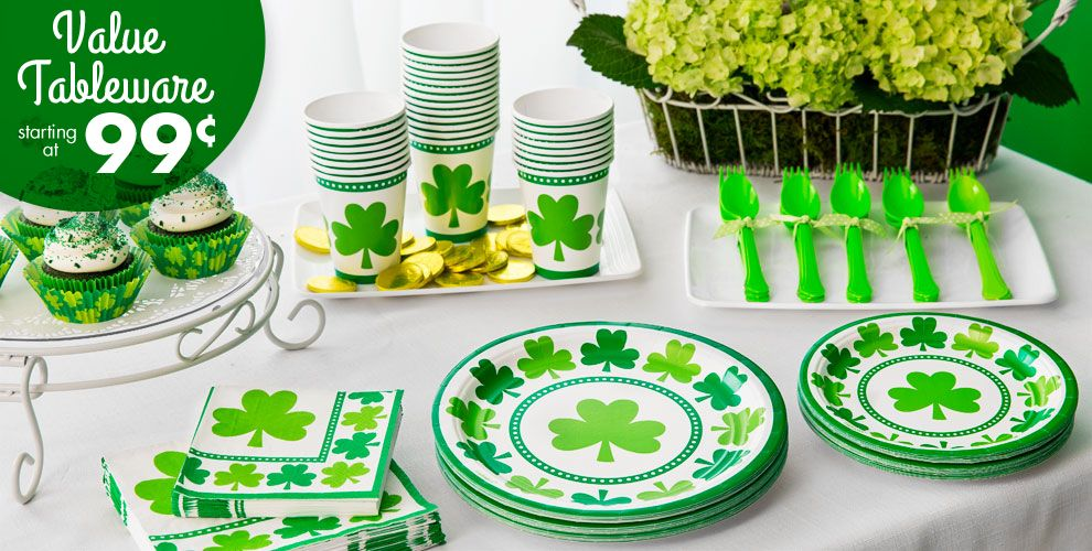 Lucky Shamrock Party Supplies - Value Tableware Starting at 99¢