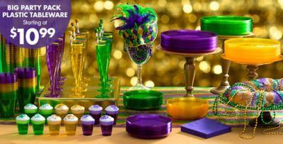 Mardi Gras Plastic Big Party Pack Tableware Starting at $7.99 ... & Mardi Gras Plastic Party Supplies   Party City