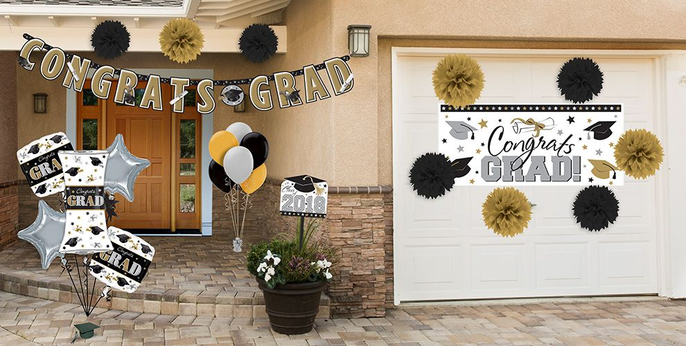 Black, Gold & Silver Graduation Party Supplies