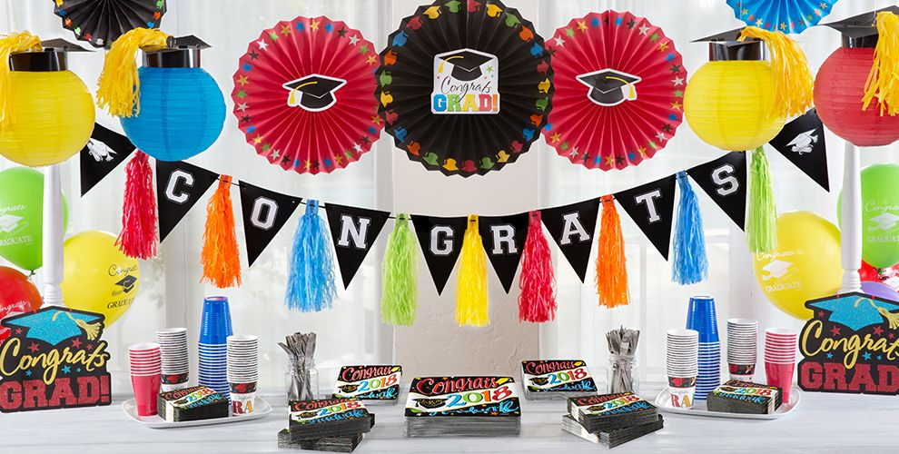 Colorful Brights Graduation Party Supplies