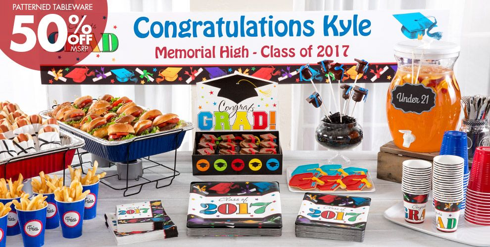 Patterned Tableware 50% off MSRP — Colorful Brights Graduation Party Supplies