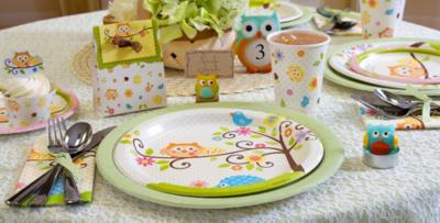 Patterned Tableware 50% off MSRP u2014 Owl Baby Shower Party Supplies ... & Owl Baby Shower Party Supplies   Party City
