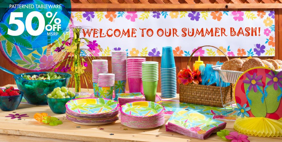 Summer Scene Party Supplies – Patterned Tableware 50% off MSRP