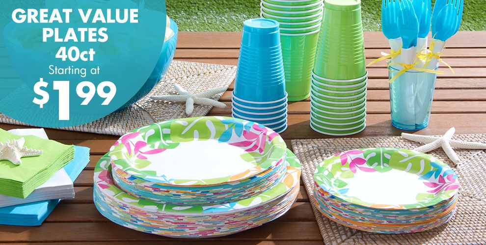 Palm Leaf Party Supplies – Super Value 40ct Plates Starting at $1.99
