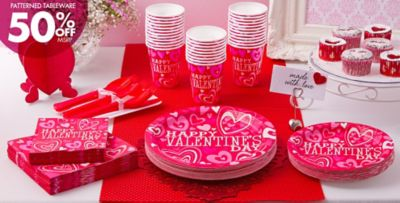 Bright Valentine\u0027s Day Party Supplies 50% off Patterned Tableware MSRP & Bright Valentines Day Party Supplies | Party City