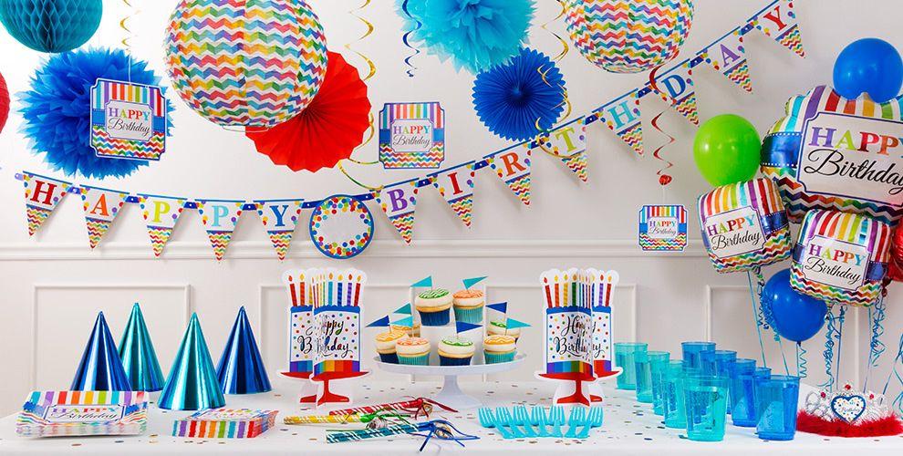 Rainbow Chevron Birthday Party Supplies
