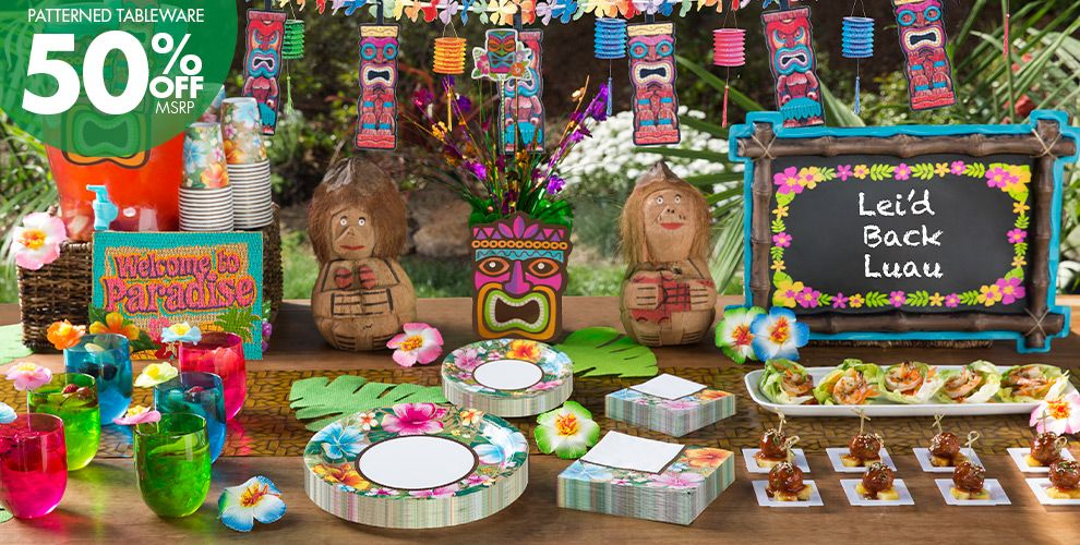 Patterned Tableware 50% Off MSRP — Tiki Party Theme