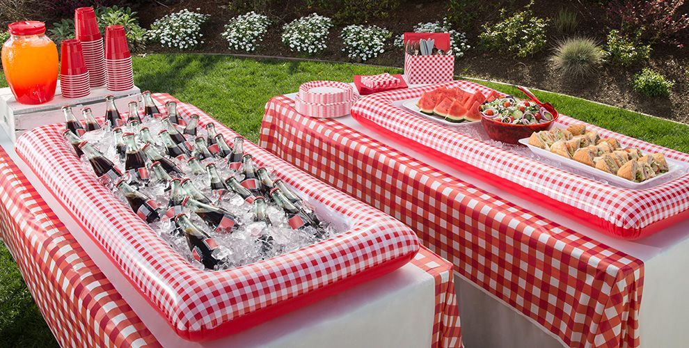 Gingham picnic party theme picnic party supplies party for Summer white party ideas