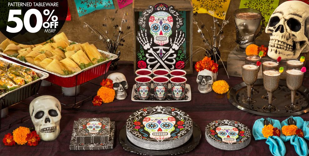 Patterned Tableware 50% off MSRP — Day of the Dead Decorations