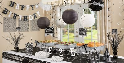 ... Black u0026 White Birthday Party Supplies ... : black and silver party decorations ideas - www.pureclipart.com