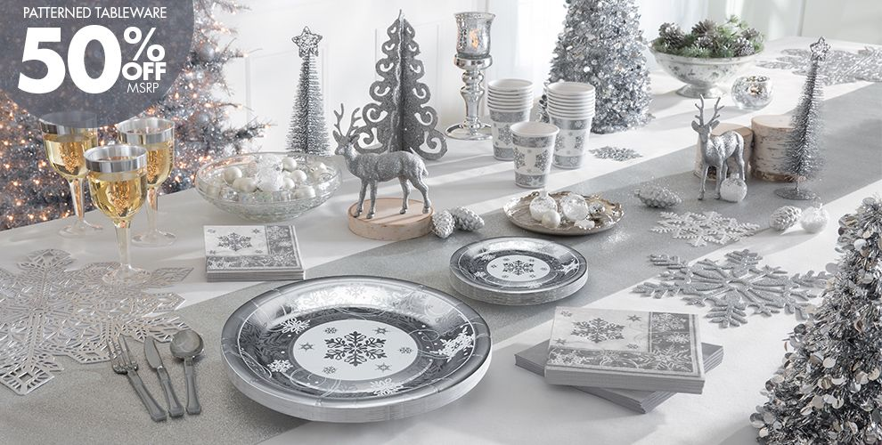 Christmas Table Decorations Silver And White