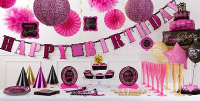 Fabulous Birthday Party Supplies Pink Black Damask Decorations