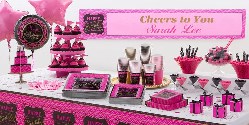Pink Chevron Birthday Party Supplies