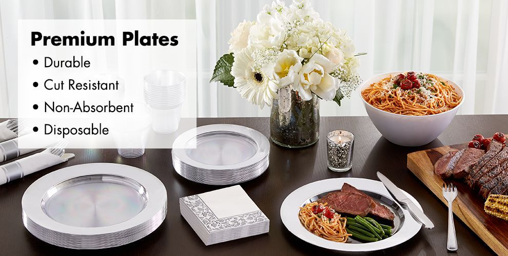 CLEAR Premium Tableware — Durable, Cut Resistant, Non-Absorbent, & Disposable