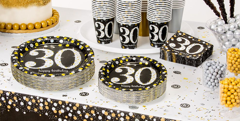 Patterned Tableware 50% off MSRP — Sparkling Celebration 30th Birthday Party Supplies