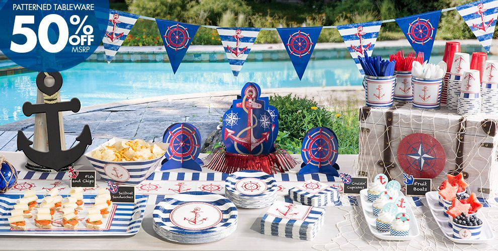 Striped Nautical Party Supplies – 50% off Patterned Tableware MSRP