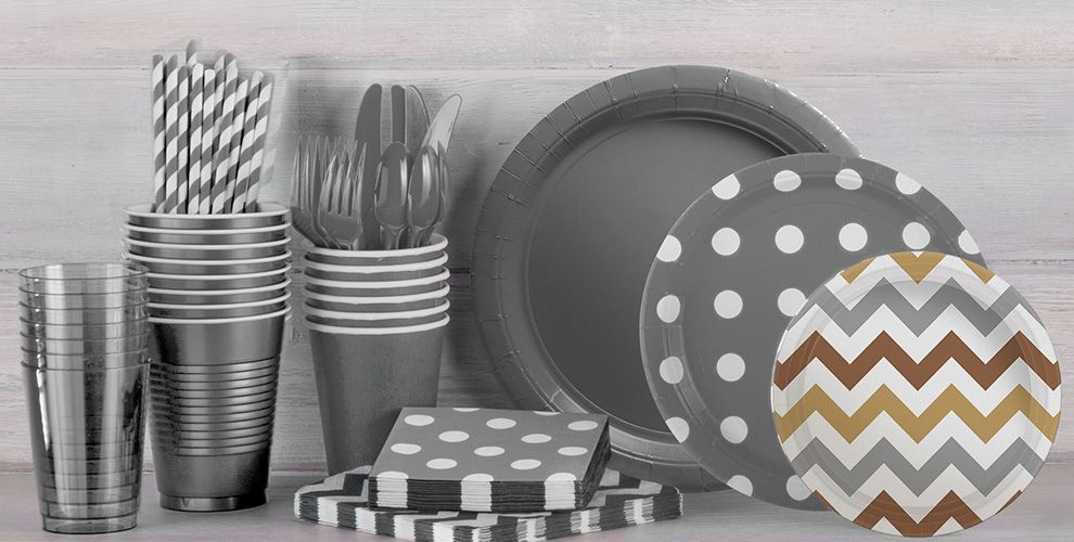 Patterned Tableware 50% off MSRP — Silver Polka Dot Party Supplies