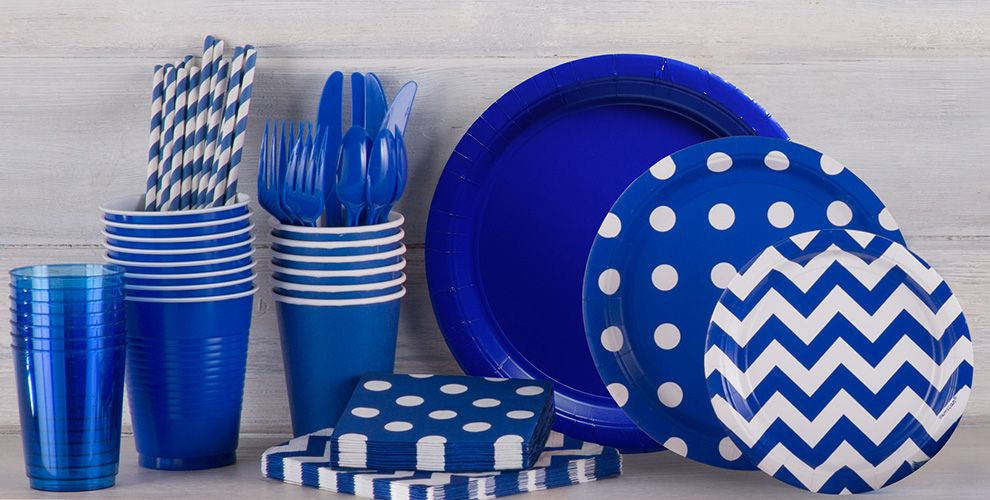 Patterned Tableware 50% off MSRP — Royal Blue Polka Dot Party Supplies