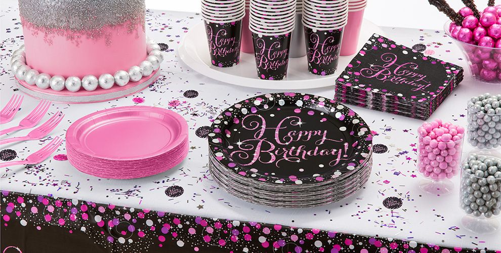 Patterned Tableware 50% off MSRP — Pink Sparkling Celebration Happy Birthday Party Supplies