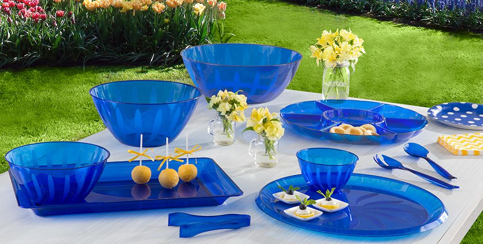 Royal Blue Serving Trays, Bowls & Utensils