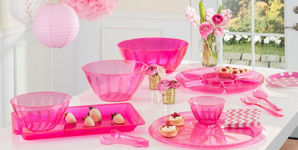 Bright Pink Serving Trays, Bowls & Utensils