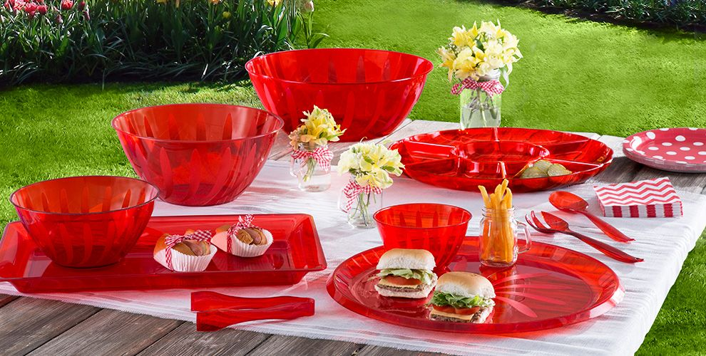 red serving trays bowls utensils red plastic platters tongs more party city. Black Bedroom Furniture Sets. Home Design Ideas