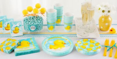 High Quality Patterned Tableware 50% Off MSRP U2014 Moon U0026 Rubber Ducky Shower Party  Supplies ...