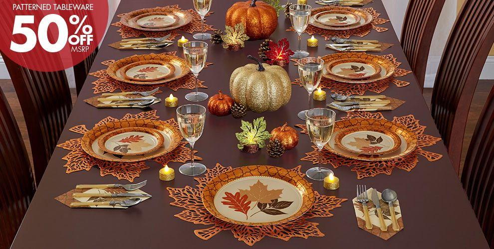 Patterned Tableware 50% off MSRP — Copper Leaves Party Supplies
