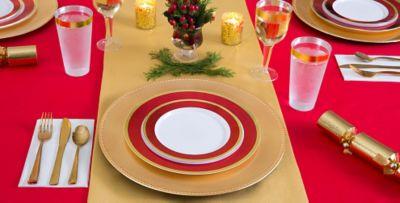 ... Gold \u0026 Red Border Premium Tableware & Gold \u0026 Red Border Premium Tableware | Party City