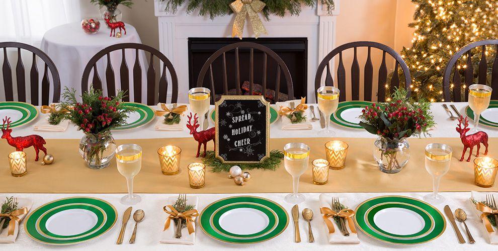 Gold & Festive Green Border Premium Tableware
