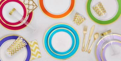 Colorful Border Premium Tableware ...  sc 1 st  Party City & Colorful Border Premium Tableware - Gold Trim Premium Plastic Plates ...