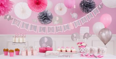 ... Pink Baby Elephant Baby Shower Party Supplies ...
