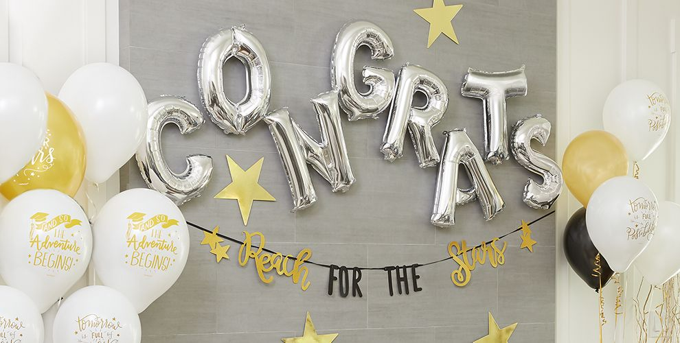 Air-Filled Silver Number, Symbol & Letter Balloons