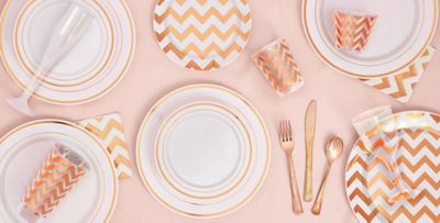 White Rose Gold Premium Tableware ...  sc 1 st  Party City & White Rose Gold Premium Tableware - Rose Gold Trim Premium Plastic ...