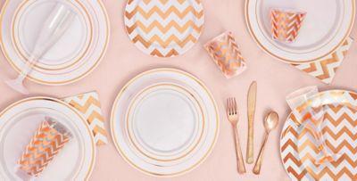 White Rose Gold Premium Tableware ...  sc 1 st  Party City & White Rose Gold Premium Tableware - Rose Gold Trim Premium Plastic ...