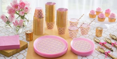 Pink Easter Tableware; Pink Easter Tableware & Metallic Geometric Pink Plastic Party Supplies - Gold u0026 Pink Plastic ...