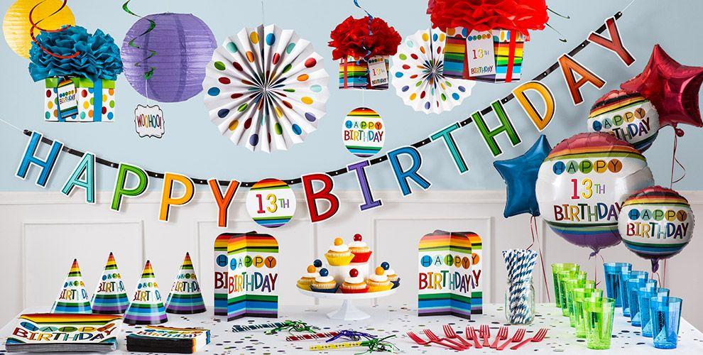 Rainbow 13th Birthday Party Supplies