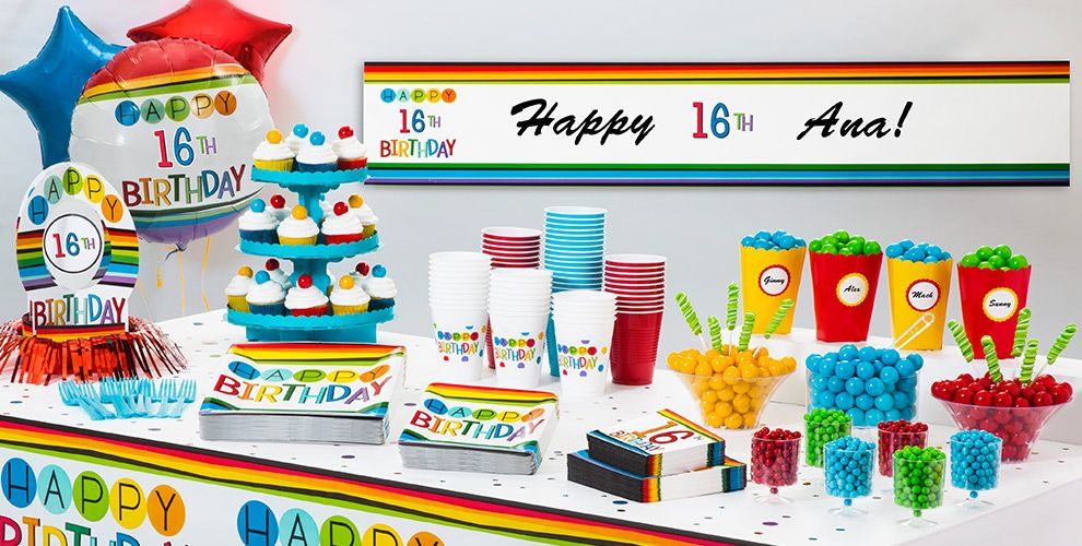 Rainbow 16th Birthday Party Supplies