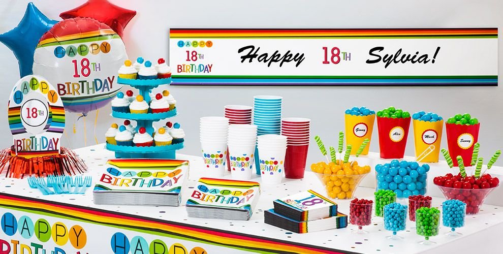 Rainbow 18th Birthday Party Supplies