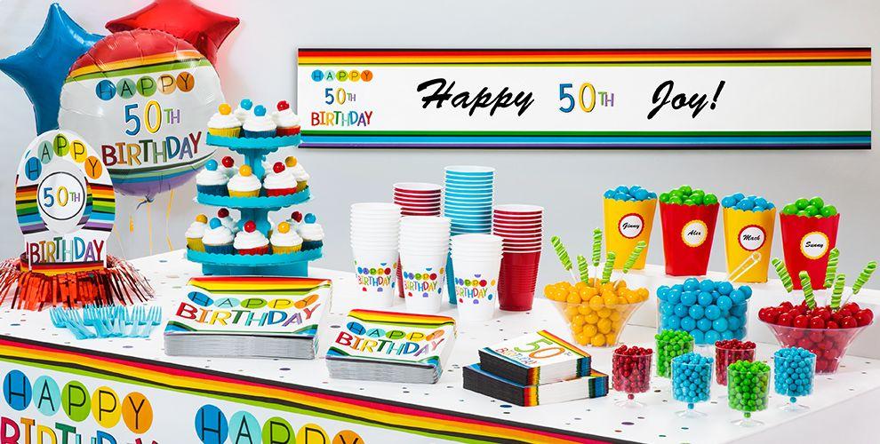 Rainbow 50th Birthday Party Supplies