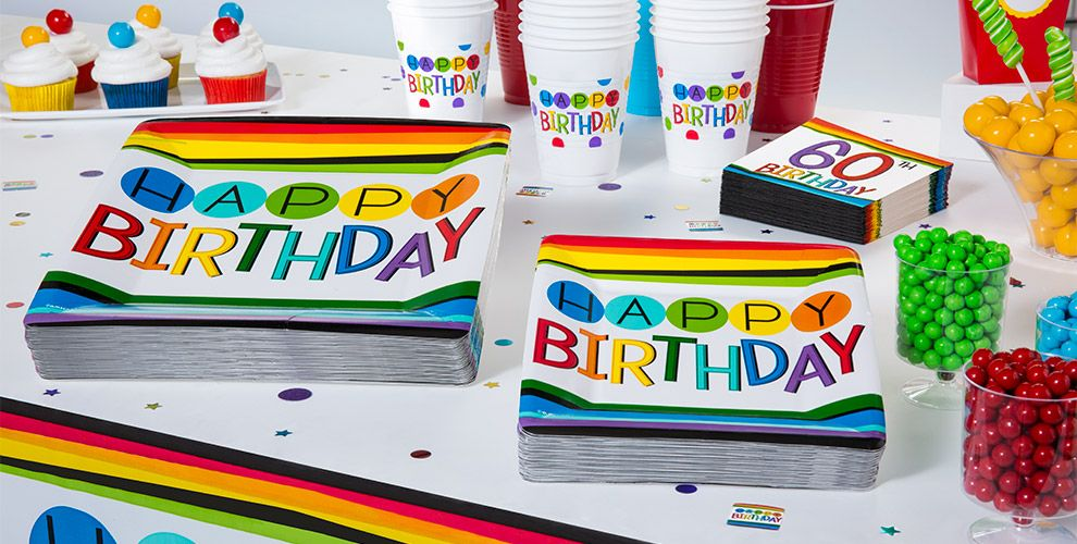 Rainbow 60th Birthday Party Supplies