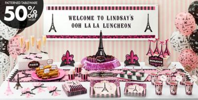 Paris Themed Party Decorating Ideas Part - 25: Day In Paris Theme Party - Patterned Tableware 50% Off MSRP ...